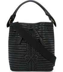 anya hindmarch woven bow bucket bag - black