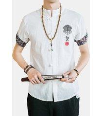 busto casual da uomo ricamato sottile in lino a maniche corte in cotone camicia