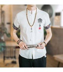 camicia di lino in cotone manica corta con maniche corte ricamate casual da uomo