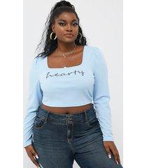blusa de manga larga con cuello cuadrado y letras de yoins basics