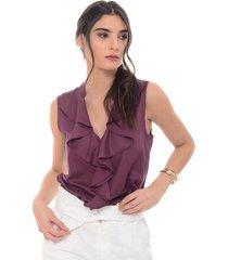 blusa para mujer en chalis mor-lila