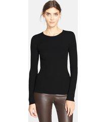 women's theory 'mirzi' rib knit merino wool sweater, size large - black