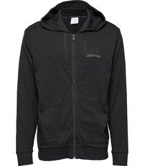 full zip sweatshirt hoodie svart calvin klein