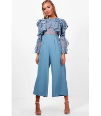 all over lace ruffle culotte jumpsuit, blue