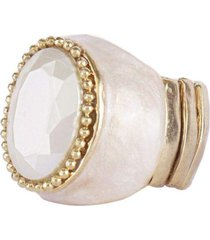 anel armazem rr bijoux resinado perola dourado - incolor - feminino - dafiti