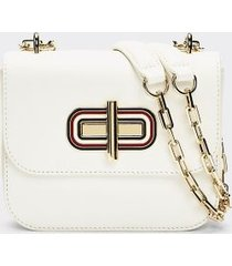 tommy hilfiger women's turnlock mini crossbody bag bright white -