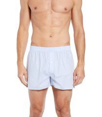 men's hanro fancy cotton boxers, size medium - blue
