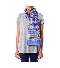 cotton and silk blend batik scarf, 'mesmerizing diamonds' (india)