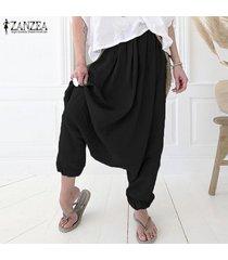 zanzea para mujer pantalones gota-entrepierna flojos ocasionales del tamaño de laides algodón pantalones plus -negro