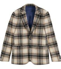 men's scotch & soda classic fit plaid stretch sport coat, size xx-large - ivory