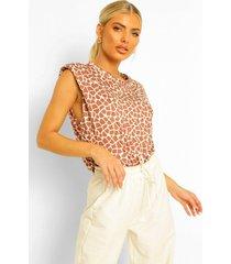 girraffe print shoulder pad t-shirt, brown