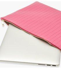 krokodillen laptop hoes met rits, pink