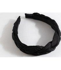alba satin braided headband - black