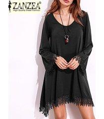 zanzea mujeres se visten de moda 2017 playa de algodón ganchillo borlas del cordón largo de la manga del mini vestido del bikini (negro) -negro