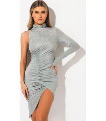 akira desperado one shoulder glitter thigh slit dress