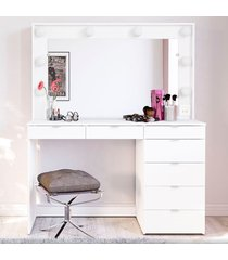 penteadeira camarim 7 gavetas madrid branco - pnr móveis
