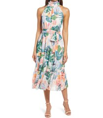 women's eliza j floral high neck midi dress, size 6 - blue/green