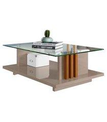mesa de centro retangular com tampo de vidro frizz fendi e naturale
