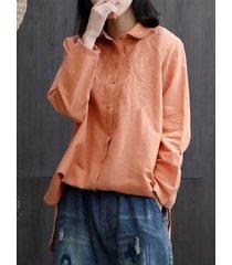 camicette da donna vintage con colletto rovesciato ricamato