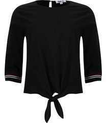 blusa unicolor con tiras tejidas color negro, talla 12