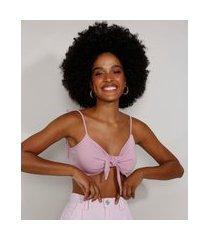 top cropped feminino com nó alça laço decote v lilás