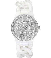 kendall + kylie women's trendy white braid chain ceramic band watch