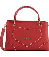 love moschino women's logo faux leather crossbody bag - red