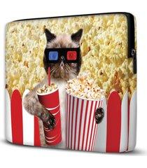 capa para notebook popcorn cat 15.6 à 17 polegadas com bolso - kanui