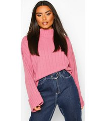 wide sleeve rib knit sweater, antique rose