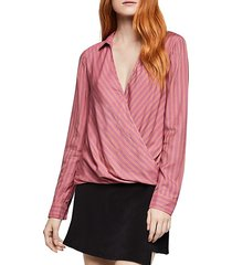 deep v striped surplice blouse