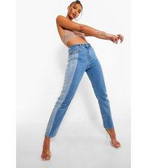 contrasterende mom jeans met hoge taille, mid blue
