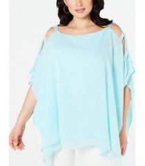 jm collection plus size lattice-sleeve poncho, created for macy's