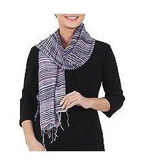 silk scarf, 'purple iridescence' (thailand)