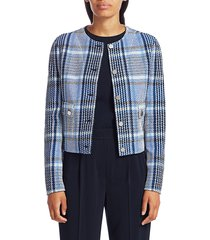 akris punto women's plaid tweed crop jacket - blue multi - size 12