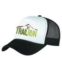 boné trucker corrida estampado snapback preto e branco - trail run preto