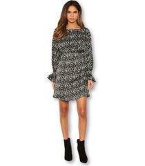 ax paris women's leopard print gathered skater dress