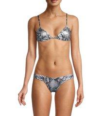 bond-eye women's paris triangle snake print bikini top - snake print - size s