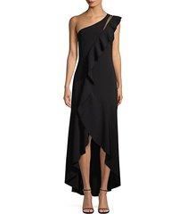 anne one-shoulder asymmetric high-low ruffle dress