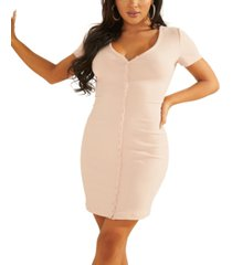 guess eco raylynn ribbed henley dress