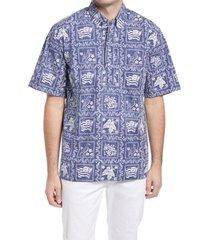 men's reyn spooner lahaina sailor regular fit popover shirt, size small - blue