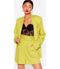 womens never follow suit longline blazer - chartreuse