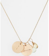 women's nashelle aqua chalcedony, lemon quartz, initial & arrow 14k-gold fill disc necklace