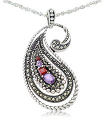 """amethyst (5/8 ct. t.w.), garnet (3/8 ct. t.w) & marcasite paisley pendant on 18"""" chain in sterling silver"""