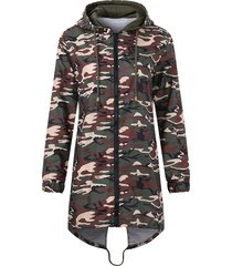 cappotti casual da donna con maniche lunghe con cappuccio irregolare camouflage