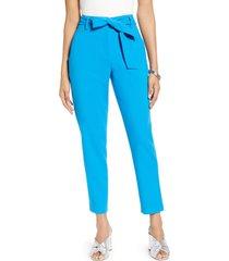 women's halogen tie waist twill pants, size 12 - blue