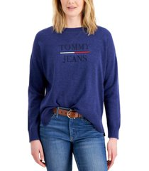 tommy jeans logo crewneck sweater