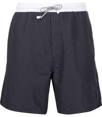 brunello cucinelli two-tone logo-embroidered swim shorts - blue