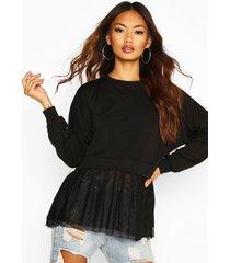 mesh ruffle sweatshirt, black