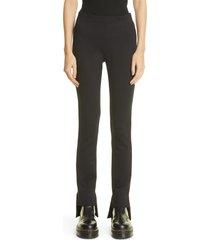 women's rosetta getty step hem skinny stretch pants, size large - black