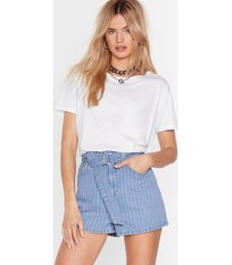 womens stripe up my life denim belted shorts - light blue